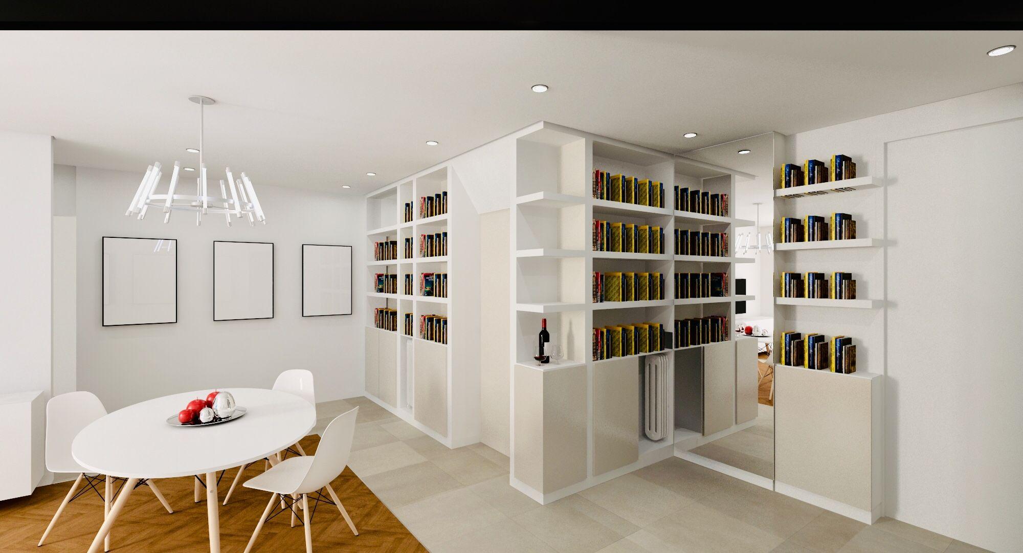 Altezza Specchio Ingresso realizzazione libreria in cartongesso, adibita a nascondere