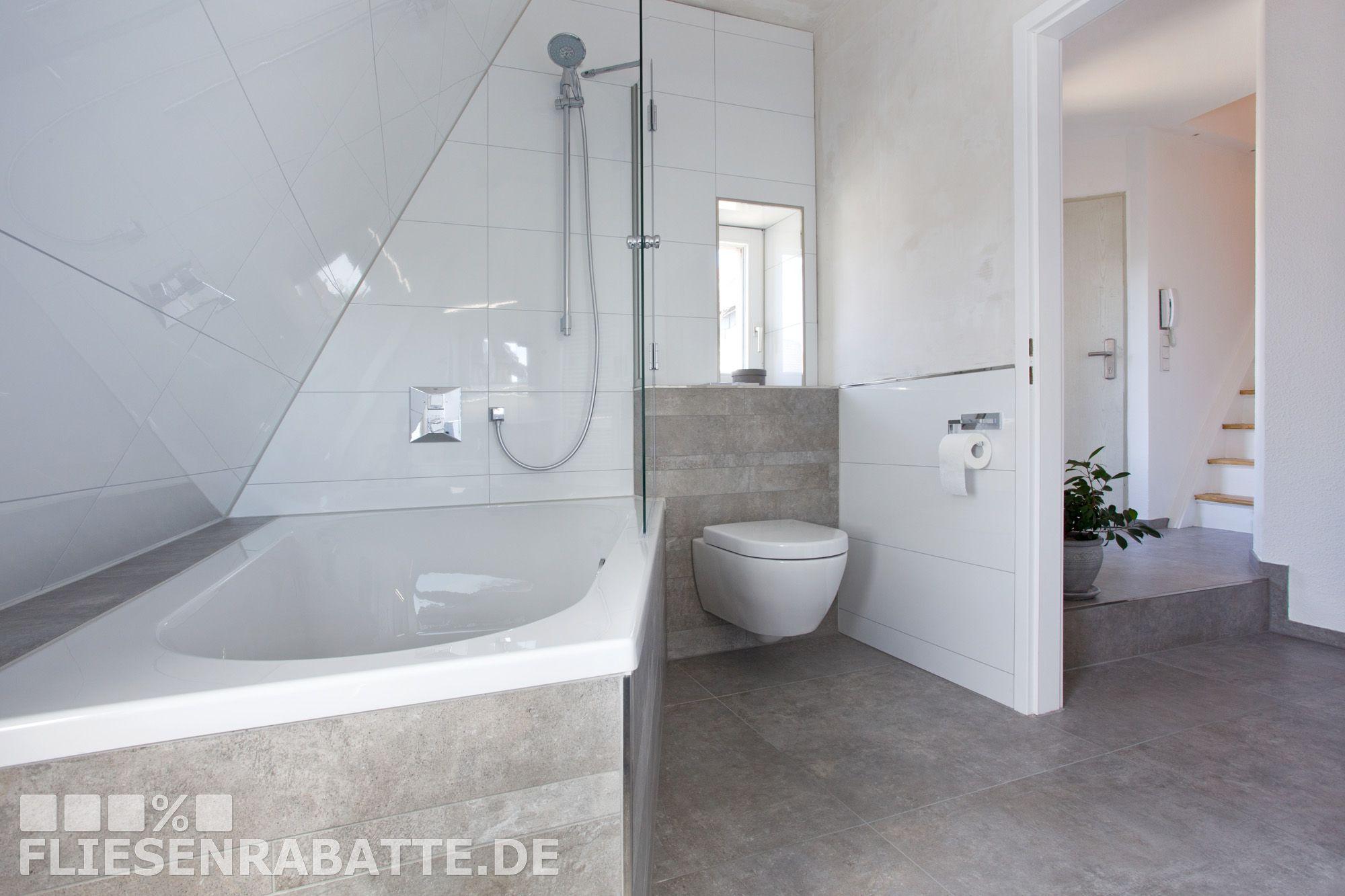 Badezimmer neu gestaltet mit Fliesen in Betonoptik. #Fliesen ...