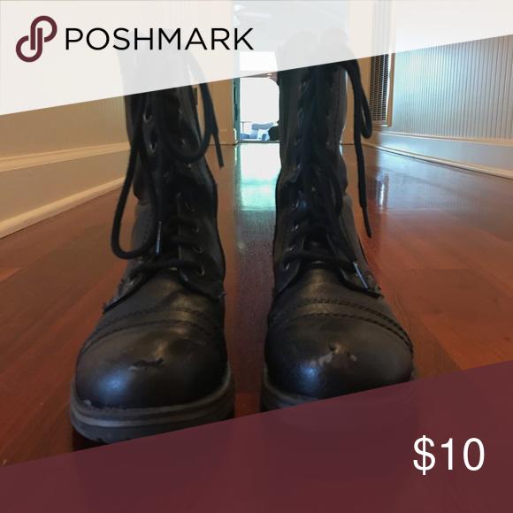worn black combat boots   Boots, Combat