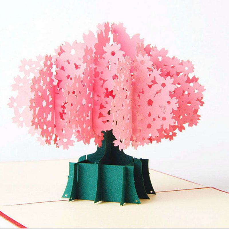 Celebrations & Occasions 3D Flower Greeting Card Pop Up Paper Cut Birthday Wedding Valentines Postcard Home, Furniture & DIY