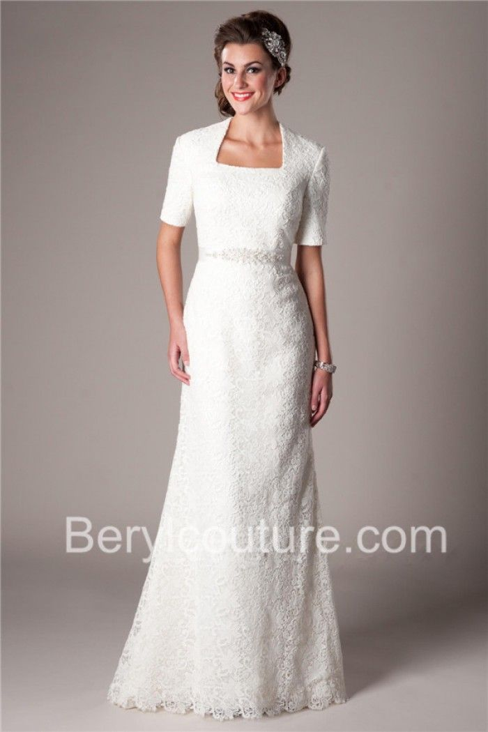 Fitted Mermaid Square Neck Short Sleeve Vintage Lace Modest Wedding Dress Crystal Sash