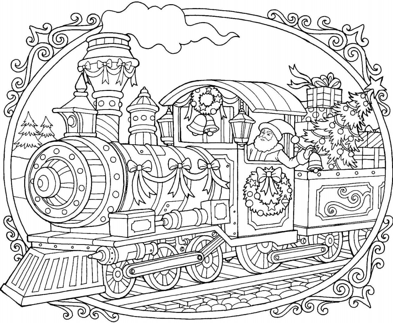 Christmas Train Coloring Page With Images