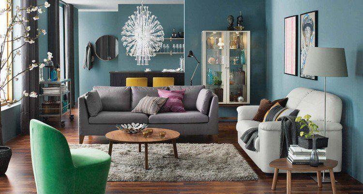 Id e d co salon cosy peinture bleue canap gris table basse en bois et fauteuil vert - Salon cosy gris ...