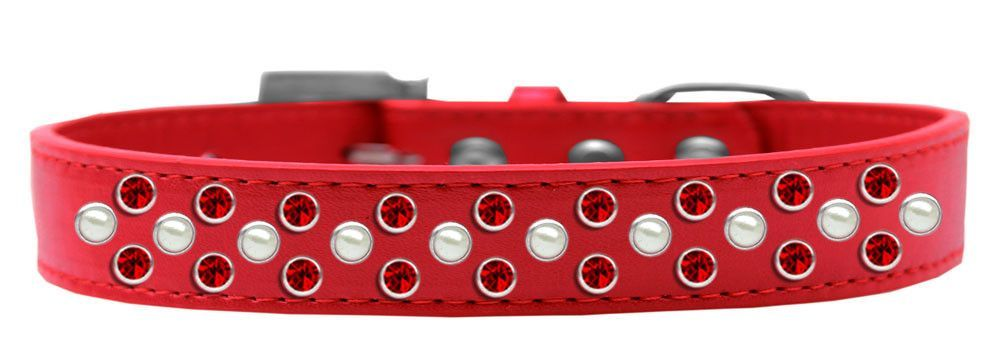 Sprinkles Dog Collar Pearl and Red Crystals Size 16 Red