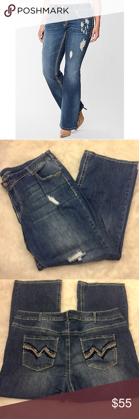 •Lane Bryant Distressed Bootcut Jeans• Adorable Lane Bryant distressed bootcut jeans with threaded embellishment on back pockets. Gently worn, in good condition. 99% Cotton / 1% Spandex. Size 22 Petite. Inseam: approx 29 inches. Lane Bryant Jeans Boot Cut