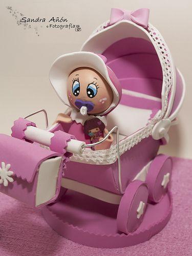 cochecito de bebe en goma eva   Decoração chá de bebê, Bebe