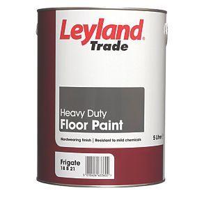 Leyland Trade Heavy Duty Floor Paint Frigate Grey 5ltr ม ร ปภาพ