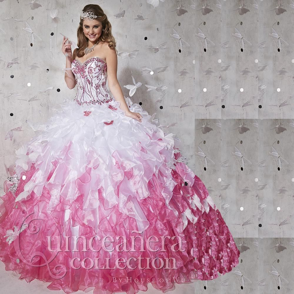 Click to Buy << White And Pink Quinceanera Dresses 2017 Masquerade ...