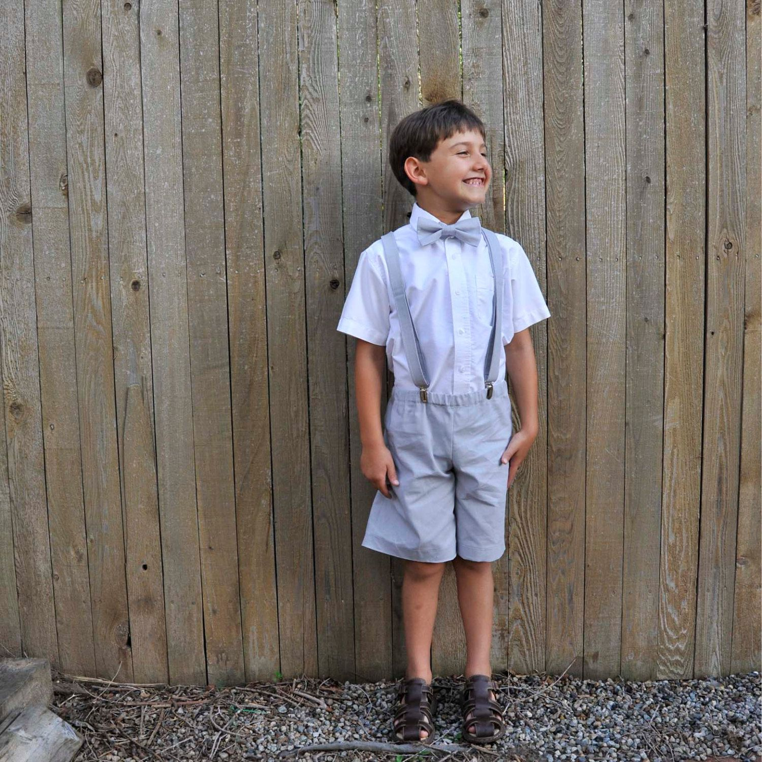 Ring Bearer Suit, Boys linen shorts, bow tie and suspenders many ...
