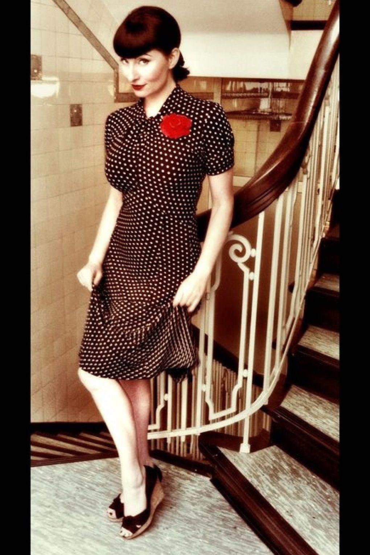 Vintage Polka Dot 1940 S 50 S Tea Dress Green: 1940's 1950's Amie Classy Black Vintage Polka Dot Flared