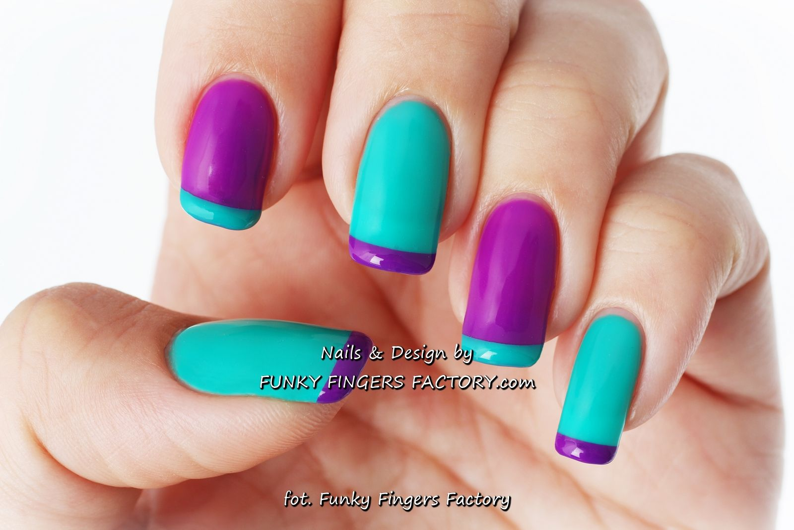 purple and teal gelish french manicure