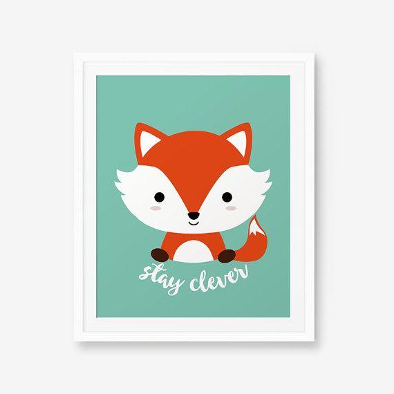 Stay clever fox print nursery art nursery decor baby cute animal wall art children animal - Dessin renard ...