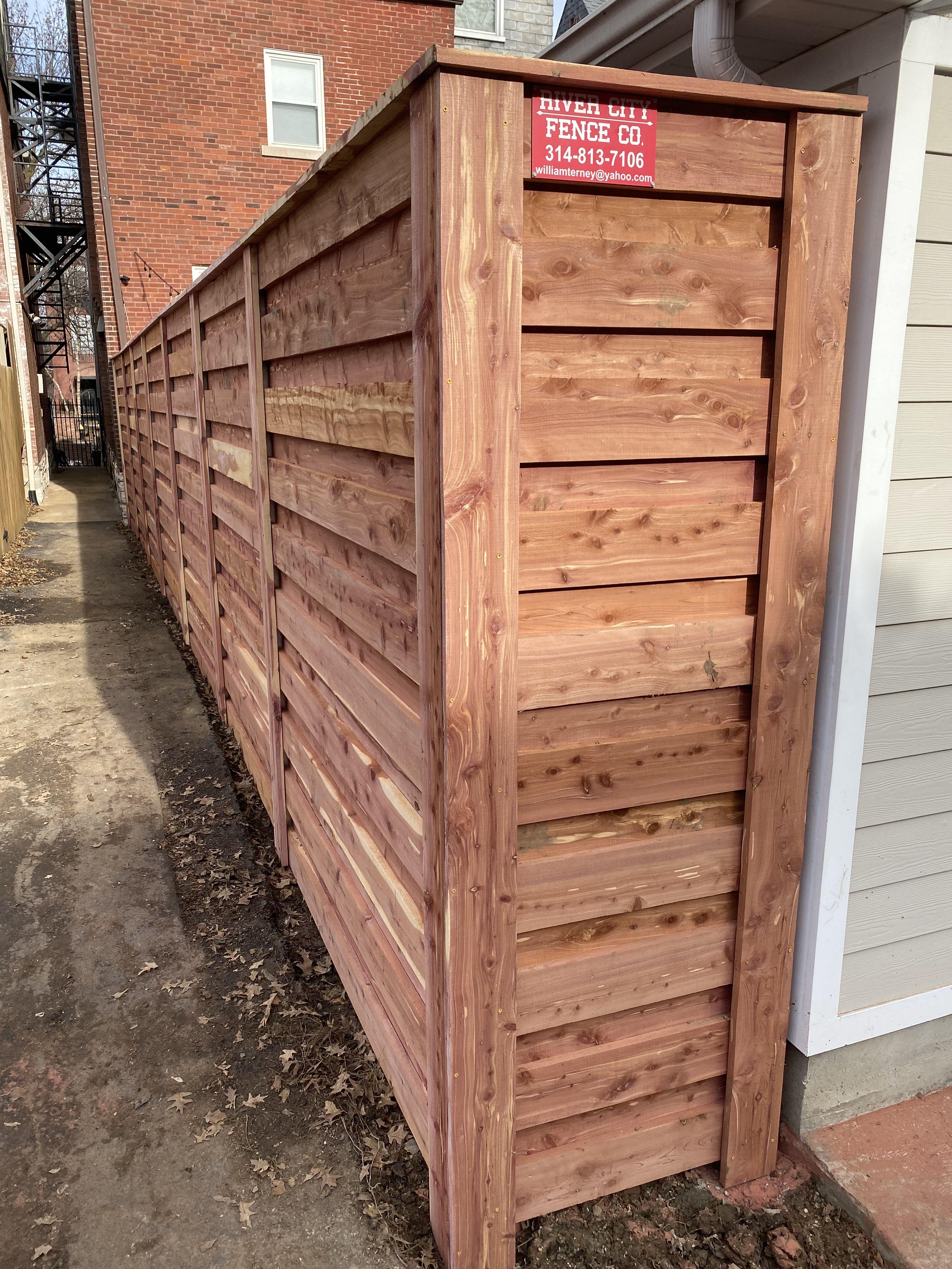 8 tall eastern cedar horizontal fence cedar horizontal