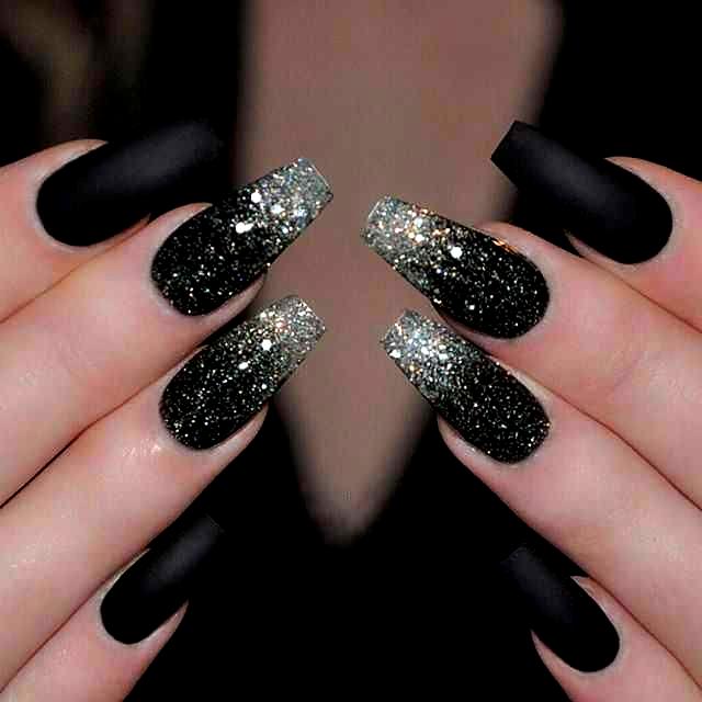 Diy Short Design Colour Coffin Black Winter Ombre Acrylic Fall Blue White Grey Purple Pink Gli In 2020 Black Nails With Glitter Black Nail Designs Nail Designs Glitter