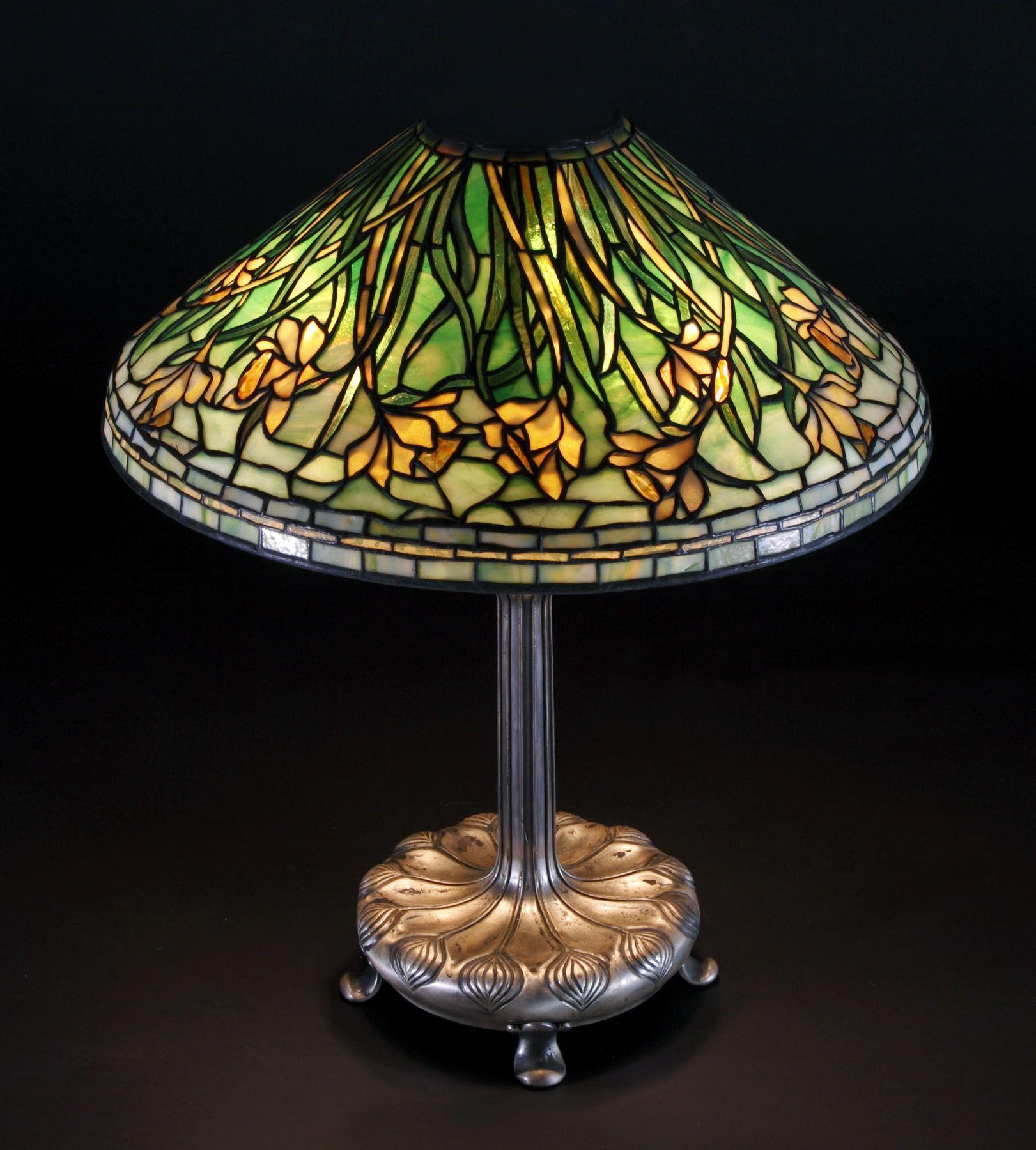 Tiffany Studios, NY, Daffodil Lamp Base sgn. Tiffany ...