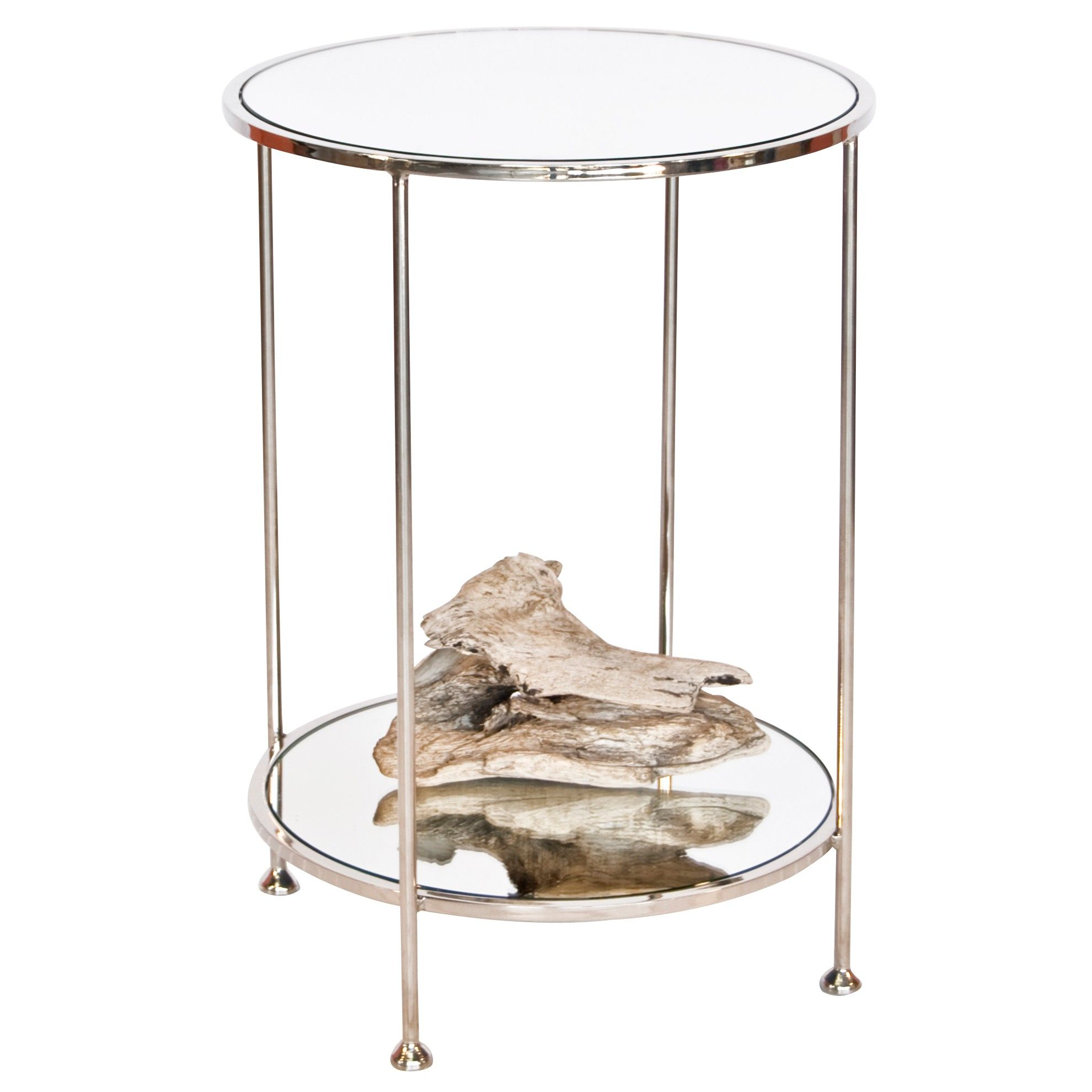 Chico Small 2 Tier Nickel Plate Side Table With Mirror Top By Worlds Away Side Table Mirrored Side Tables Mirror Tops