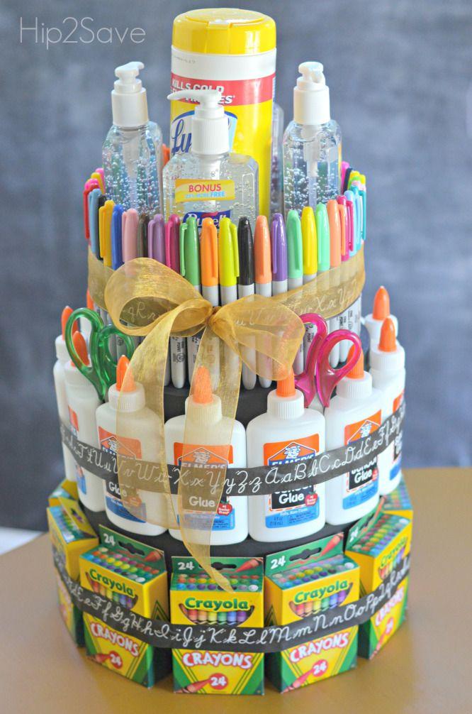 "School Supply ""Cake"" (Back to School Gift Idea)   School supplies ..."