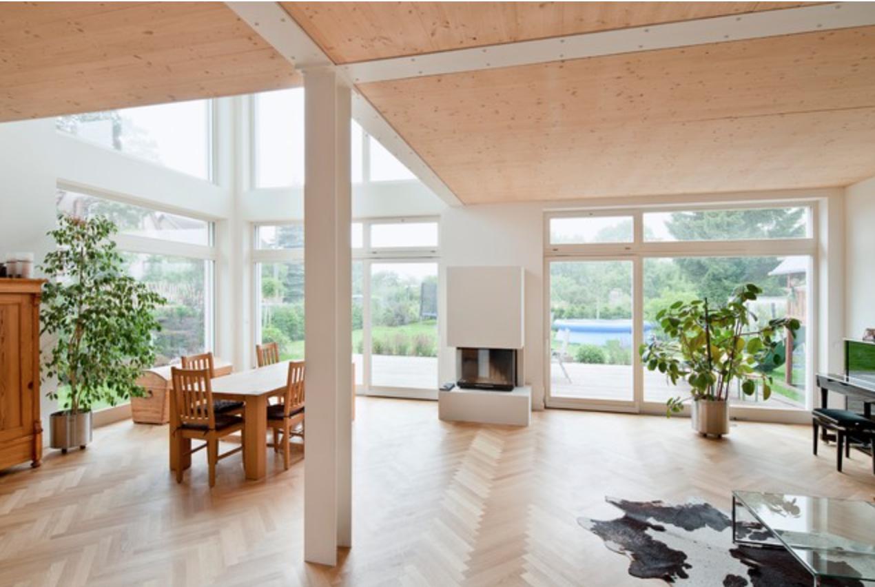 Skandinavisches Wohnzimmer, Kamin, Galerie