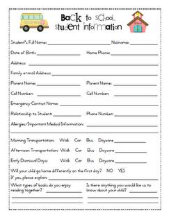 Student Info Letter
