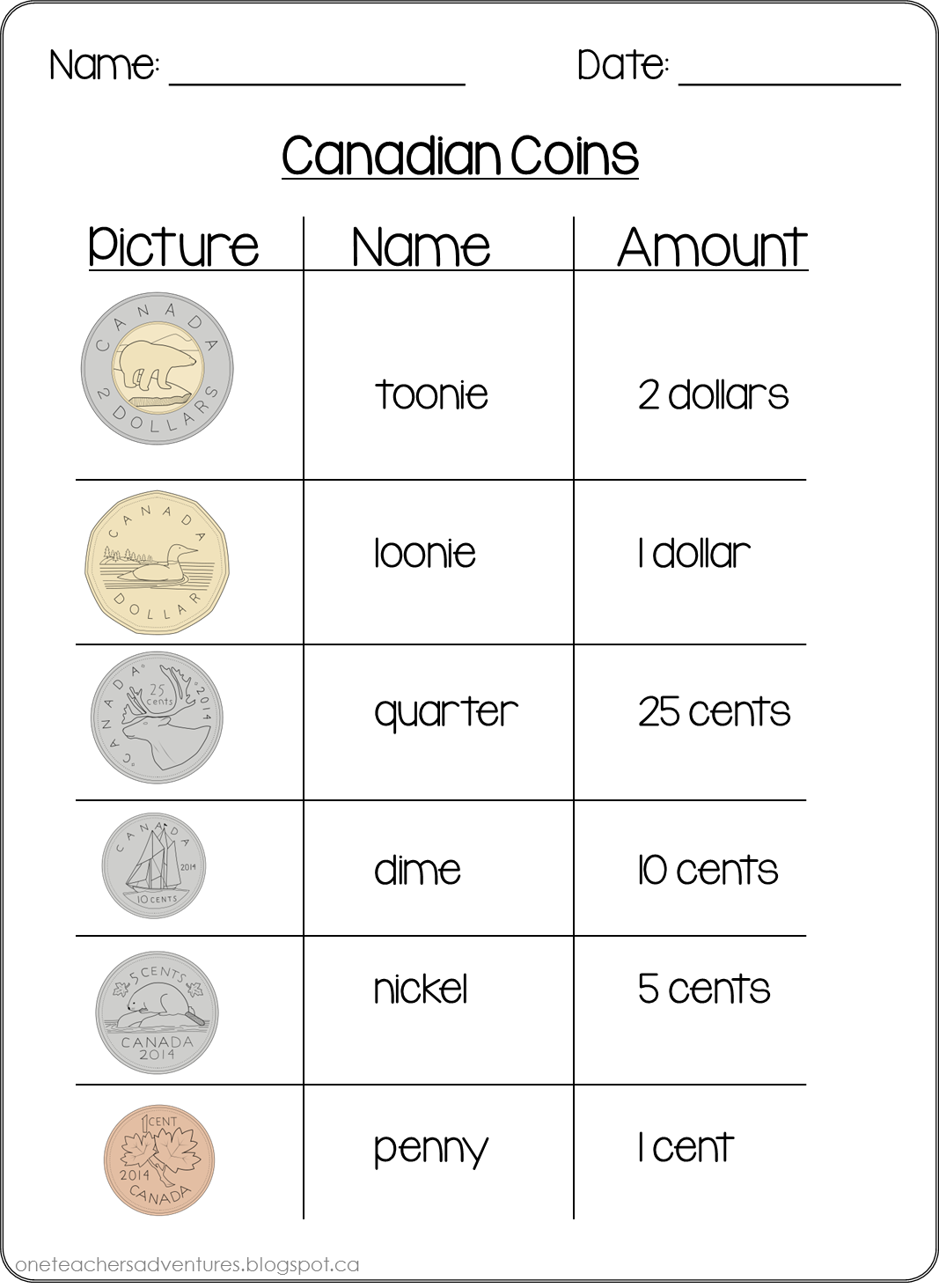 Free Canadian Money Coins Practice Sheets