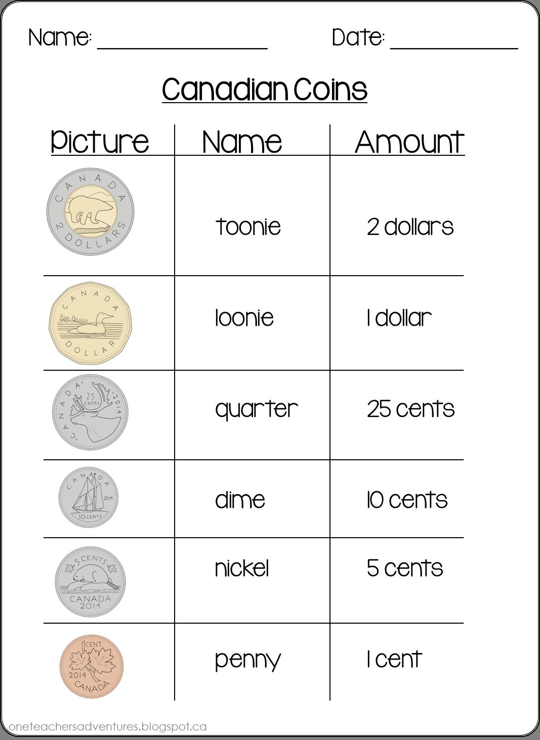 FREE Canadian Money (Coins) Practice Sheets   Money math [ 1463 x 1067 Pixel ]