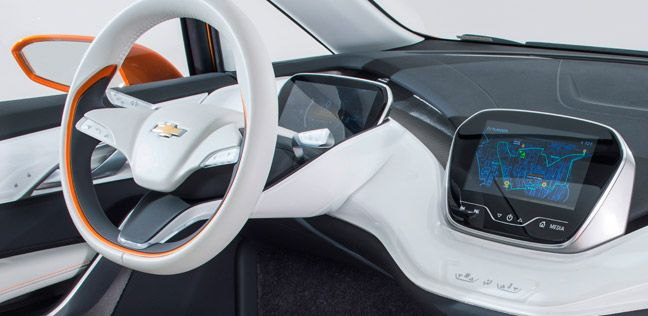 The future of the long-range all-electric vehicle Bolt EV concept car takes Chevrolet design in bold new directions. A range of over two hundred miles and a price of around $30,000 gives this concept car a chance for an affordable electric vehicle solution.