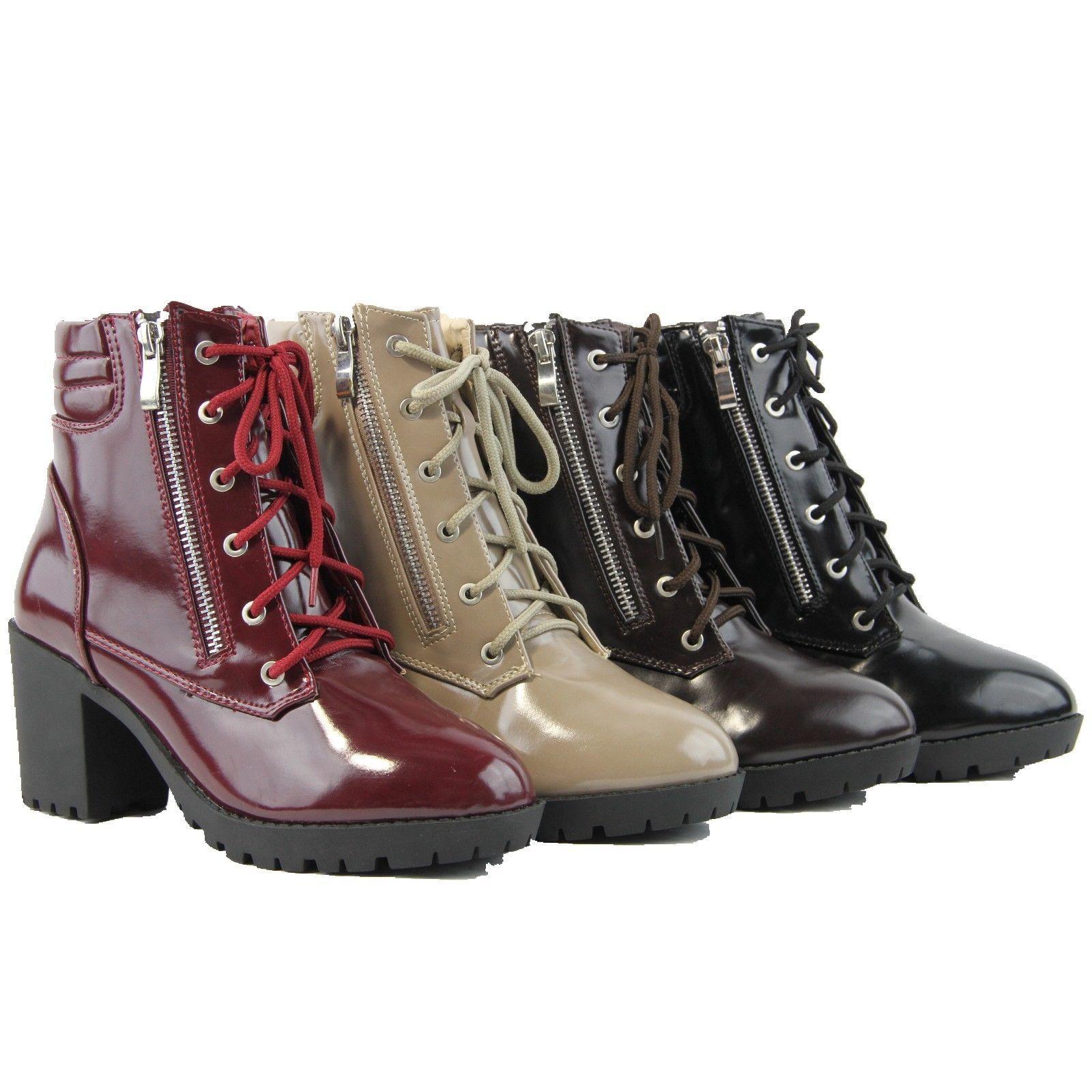 Women Boots High Cuban Heels Fashion Two Zipper Design Patent