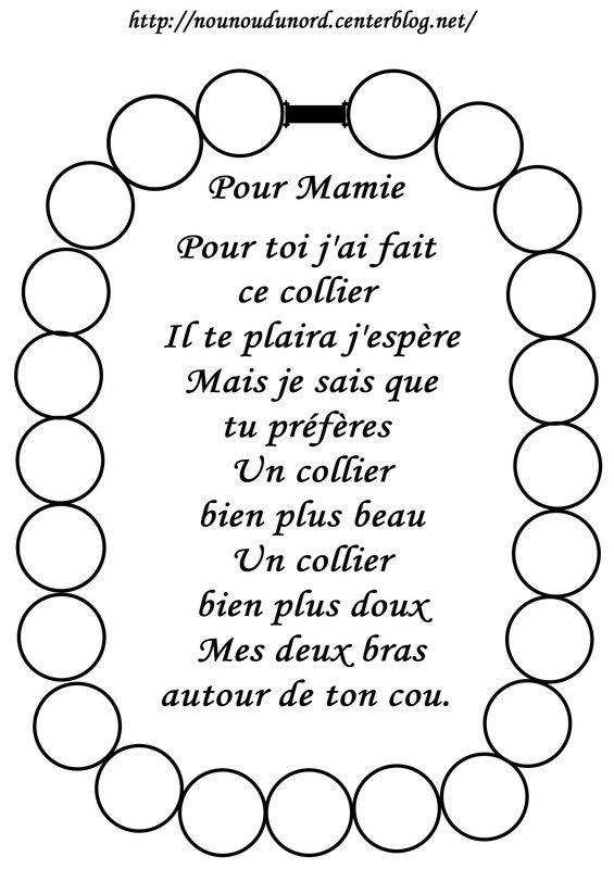 Coloriage Collier Et Poème Bonne Fête Mamie Enfants