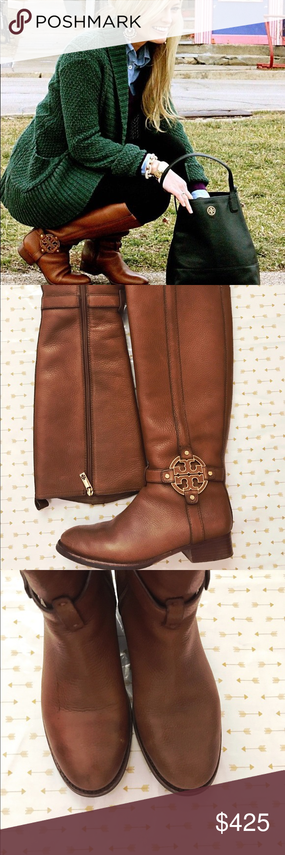 Tory Burch Amanda boots These beautiful and classic boots are in EXCELLENT condition! Worn less than 4x! They're super soft and the pebbles leather is soft and supple. One boot has a water stain as shown in final photo but it's not too noticeable as shown in 3rd photo. May come off if cleaned properly, I just have not taken the time to do so. Will not come with box! Color is called almond.  These are not wide calf circumference ❌ NO TRADES/ NO PP/ PRICE IS FIRM Tory Burch Shoes Heeled Boots