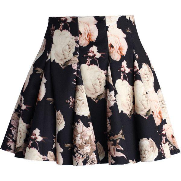 Chicwish Faded Roses Mini Skater Skirt (558.320 IDR) ❤ liked on Polyvore featuring skirts, mini skirts, bottoms, saias, faldas, multi, skater skirt, black circle skirt, high waisted skater skirt and black skater skirt