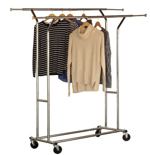 DecoBros Supreme Commercial Grade Garment Rolling Rack, Chrome Finish  (Double Rail) Deco Brothers