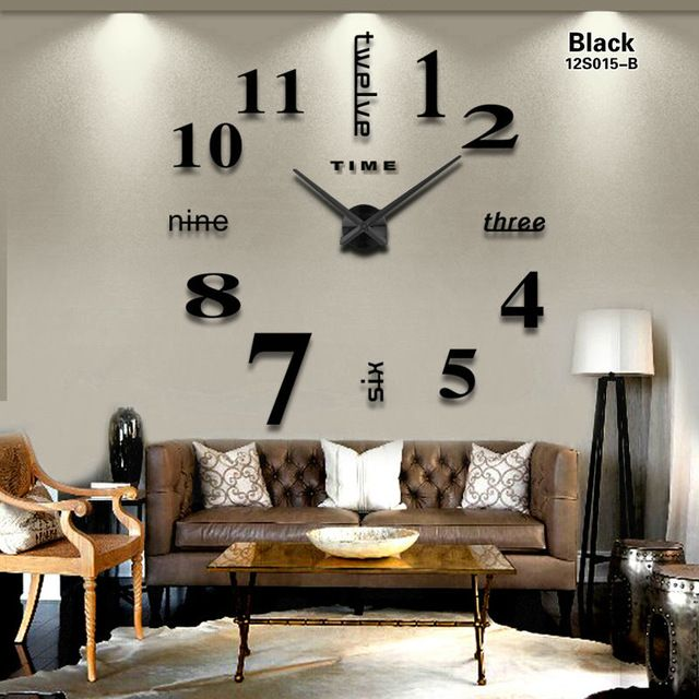 2016 New Home decoration big mirror wall clock modern design 3D