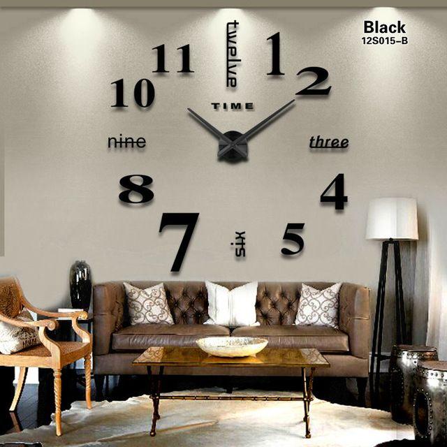 00686a7b345 2016 Nova Casa decoração relógio de parede espelho grande design moderno  relógio de parede 3D DIY grandes relógios de parede decorativos presente  original