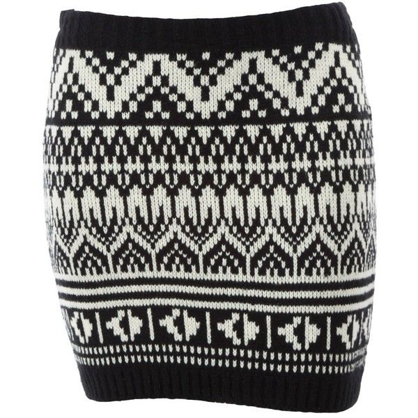 Fairisle aztec print knitted mini skirt black and white £12 ❤ liked on