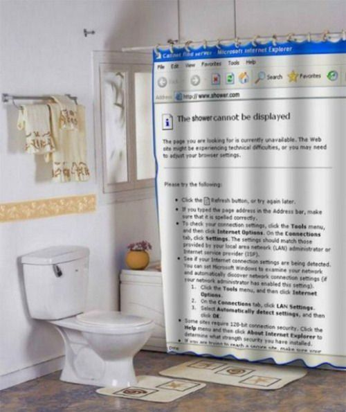 404 Shower Curtain The Shower Cannot Be Displayed Geekosystem Cool Shower Curtains Funny Shower Curtains Unique Shower Curtain