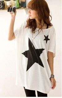 Women 2013 New Scoop Neck Short Batwing Sleeve Stars Pattern Prints White/Gray Long Loose T-shirts A519-B-9043