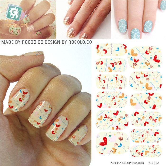 Love Design Water Transfer Nails Art Sticker Decals Girl And Women