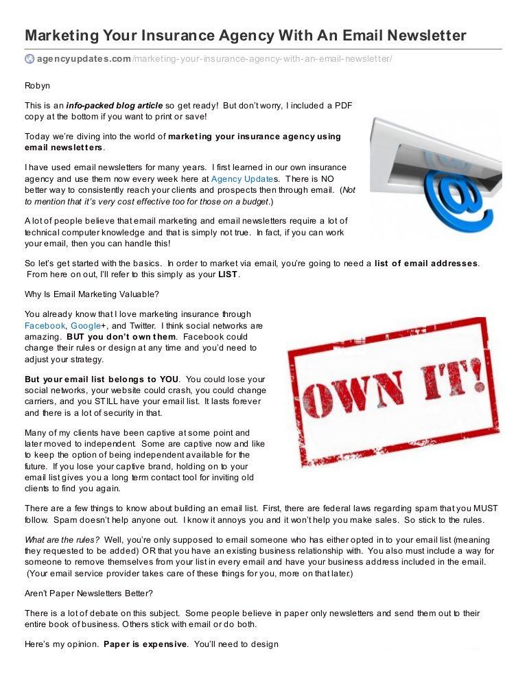 Email Marketing For Insurance Agencyupdatescom Marketing