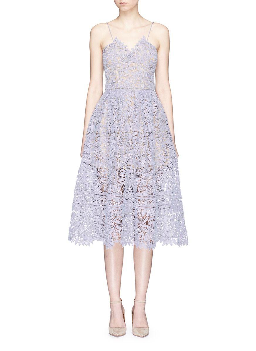 59054e9b088b48 SELF-PORTRAIT 'Laelia' Olive Leaf Guipure Lace Midi Dress. #self-portrait  #cloth #dress