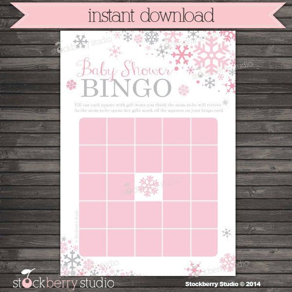 Girl Winter Baby Shower Bingo Game Printable - Instant Download - Pink and Gray Winter Wonderland Baby Shower Games - Snowflake Baby Shower by stockberrystudio on Etsy #winterwonderlandbabyshowerideas