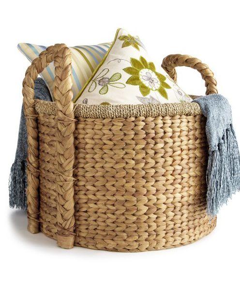 Carson Natural Wicker Round Large Basket Household Organization