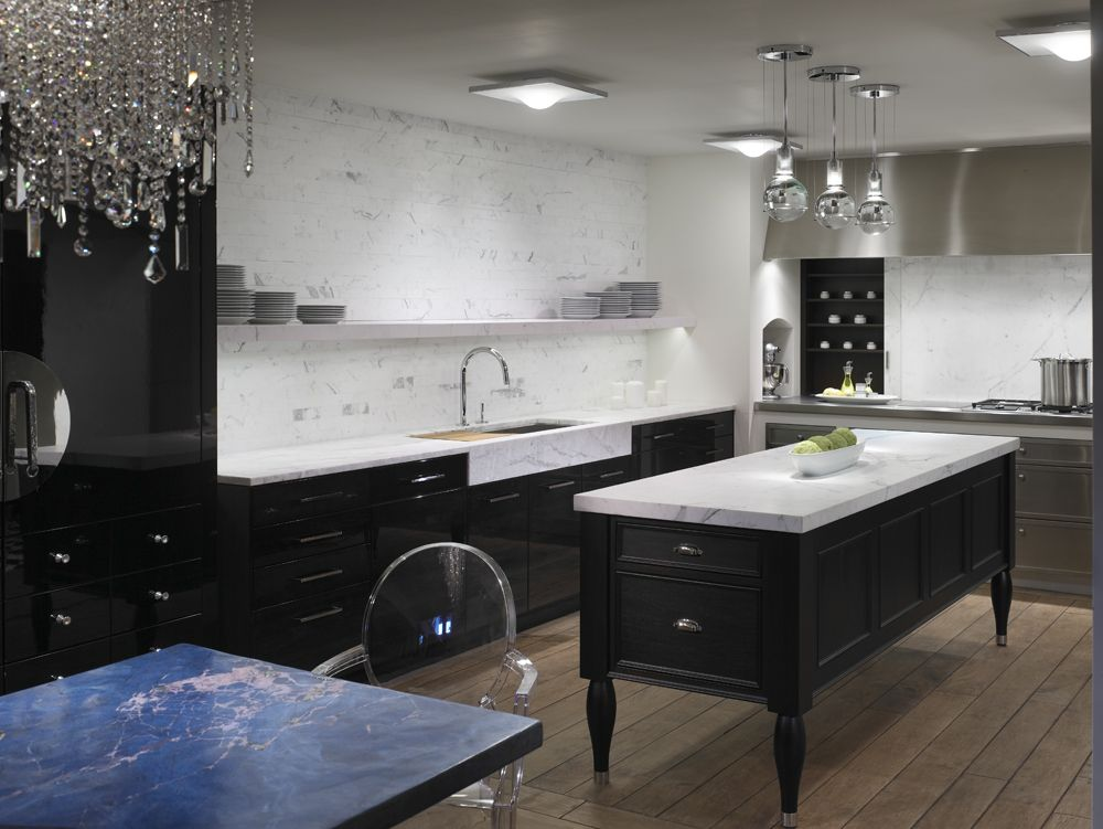 White marble and black wood kitchen with KALLISTA One faucet and ...