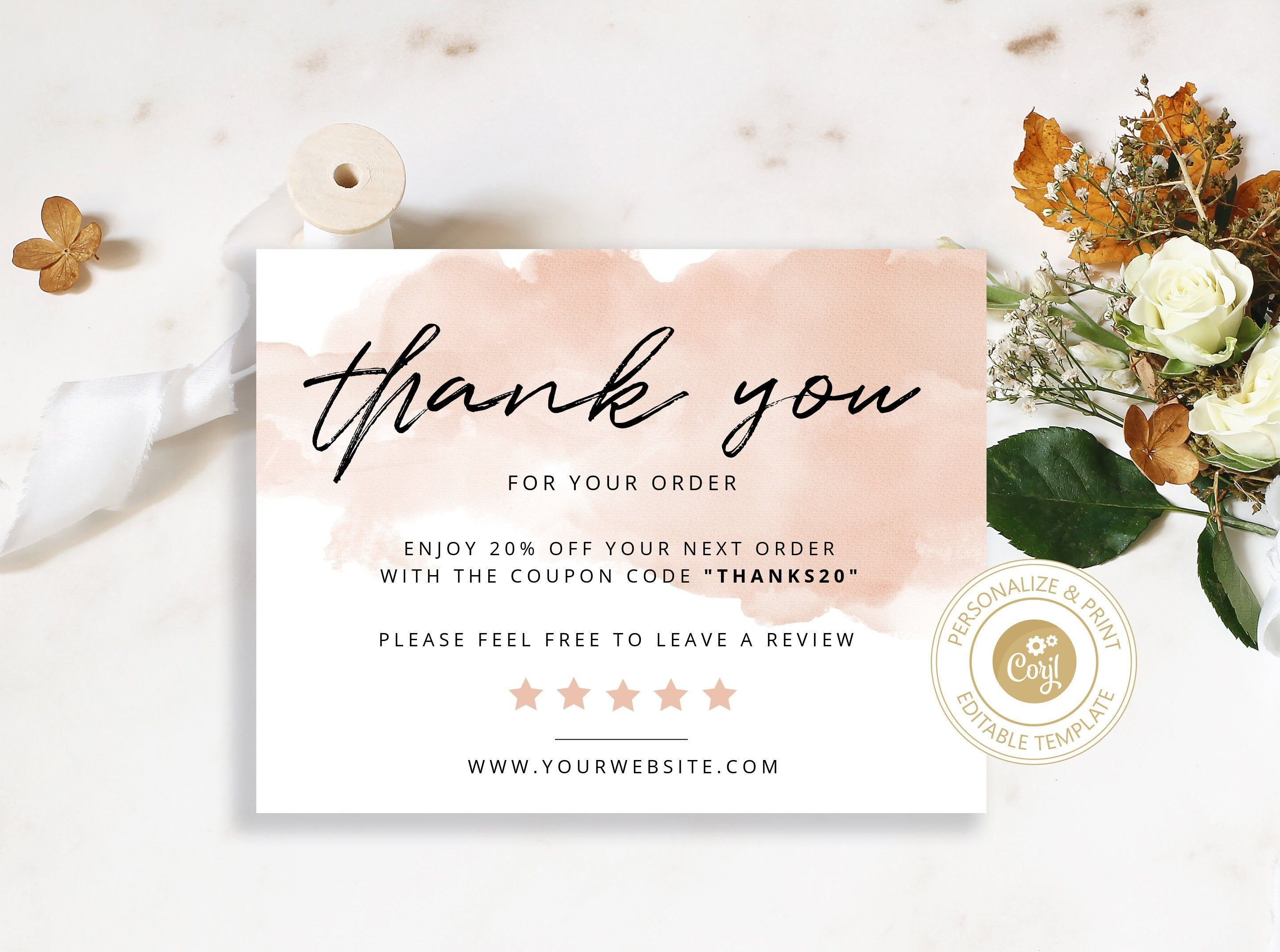 Editable Thank You Card For Small Business Corjl Printable Editable Instant Download Business Thank You Cards Thank You Cards Thank You Card Template