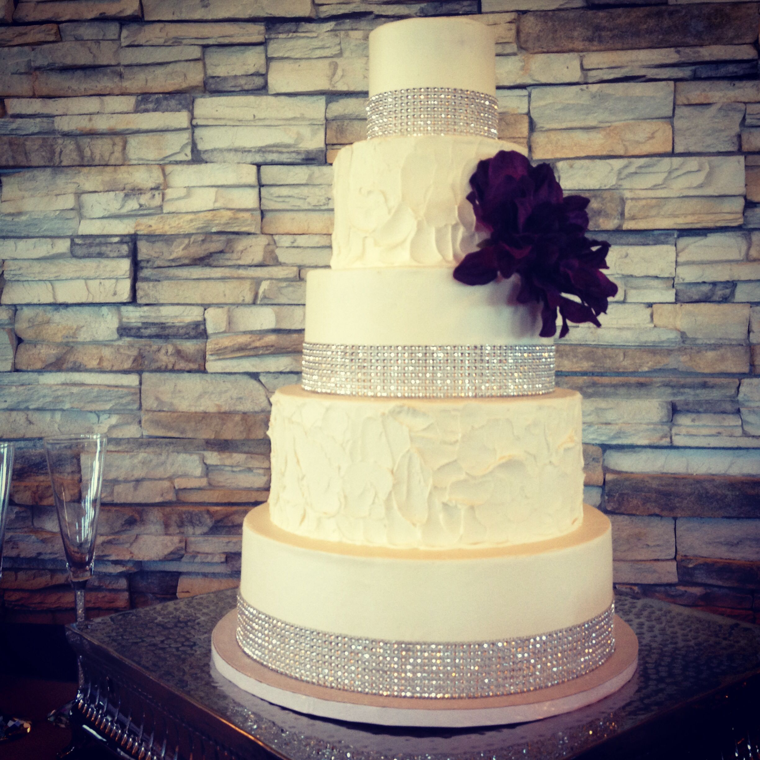 Buttercream wedding cake with alternating textures and bling banding ...