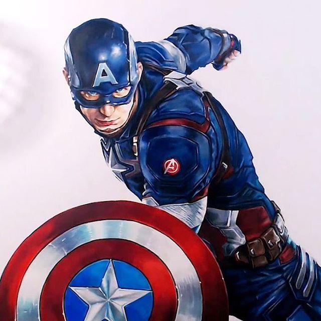 капитан америка картинка раскраска цветная простой, пошагово