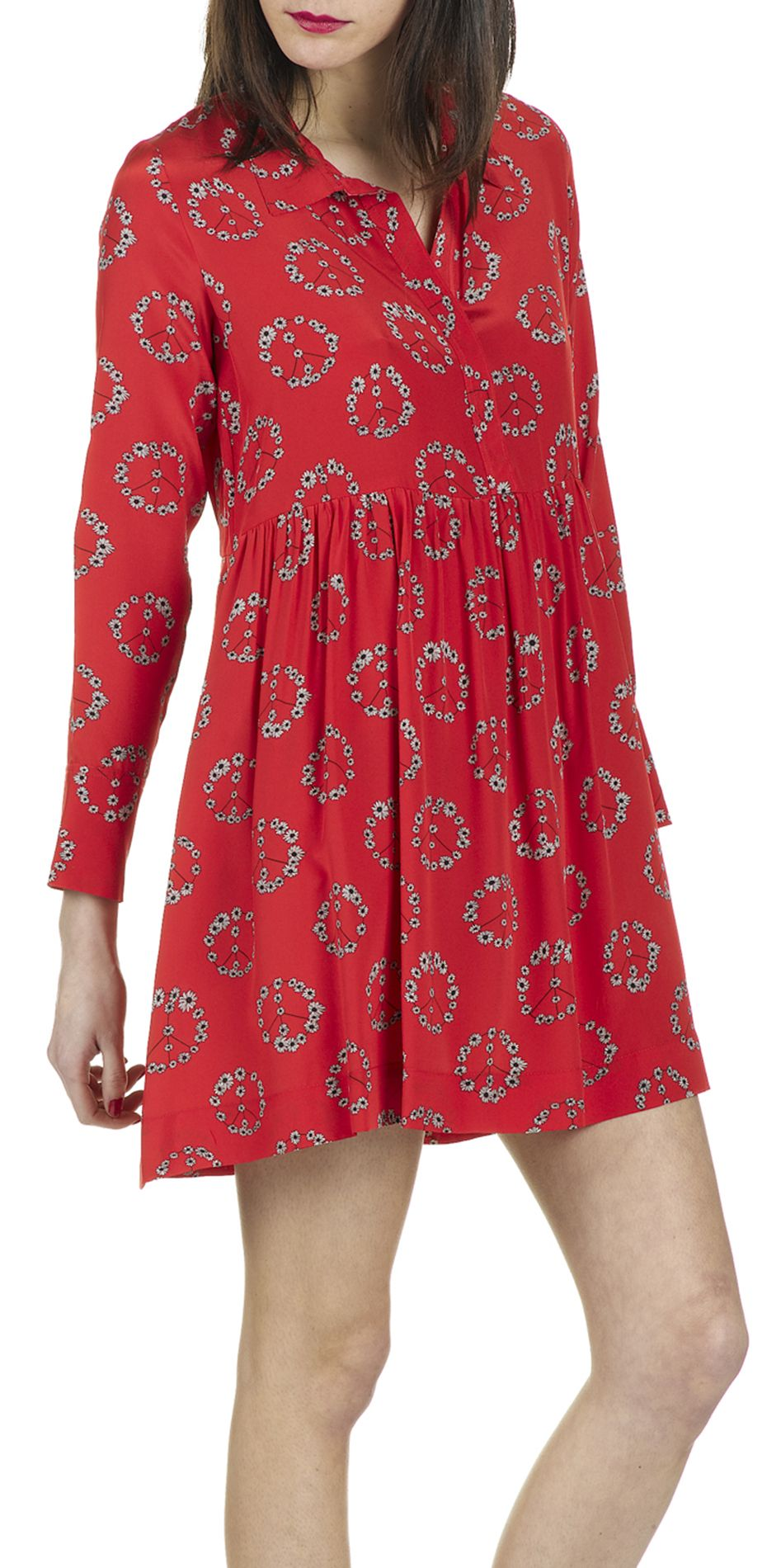 e shop robe imprimee ring en soie rouge sandro pour femme With place des tendances robes