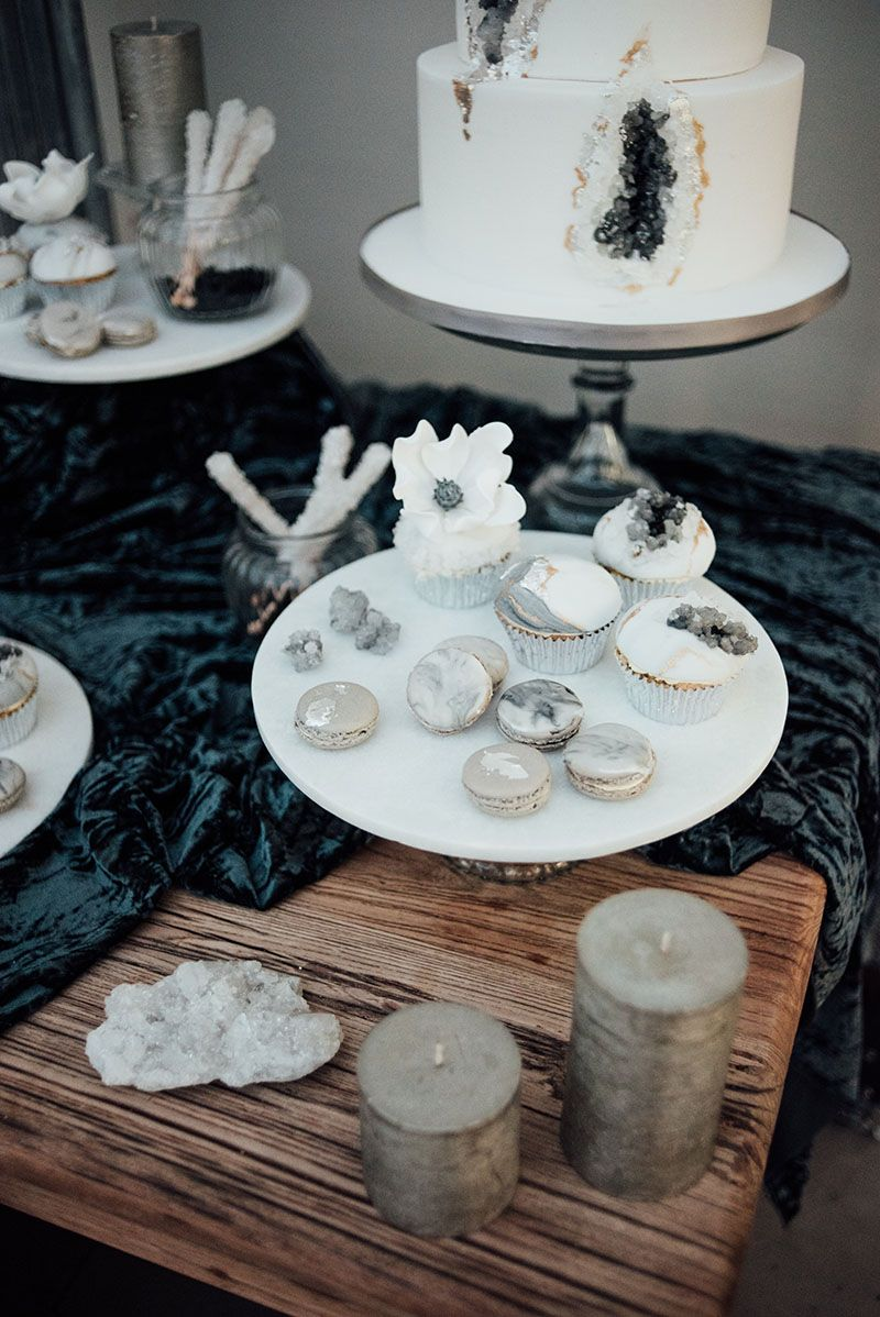 Crystal Agate Silver Grey Winter Wedding Inspiration, Invites and Stationery