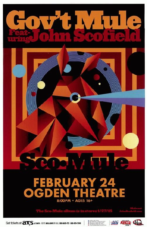 Concert poster for Gov't Mule featuring John Scofield at The Ogden Theatre in Denver, CO in 2015.  11x17 inches on card stock.