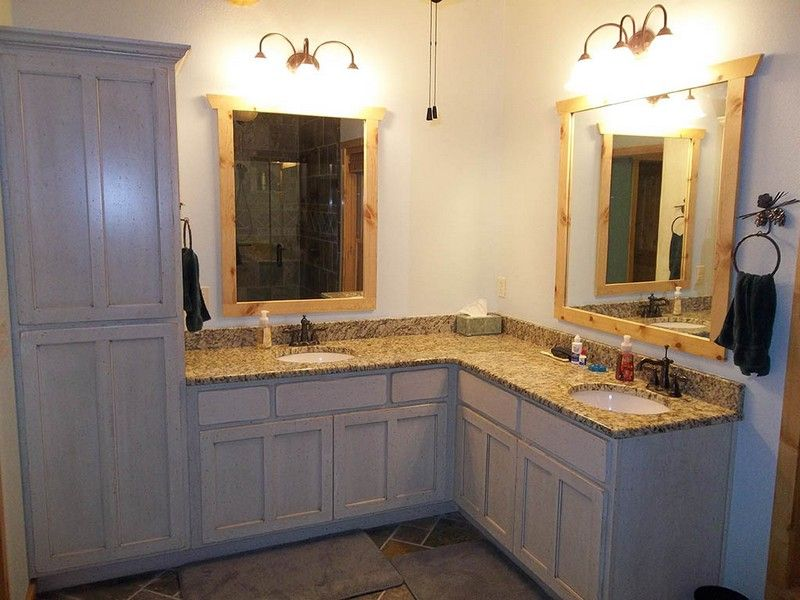 L shaped double sink bathroom vanity bathroom ideas for Master bathroom cabinet designs