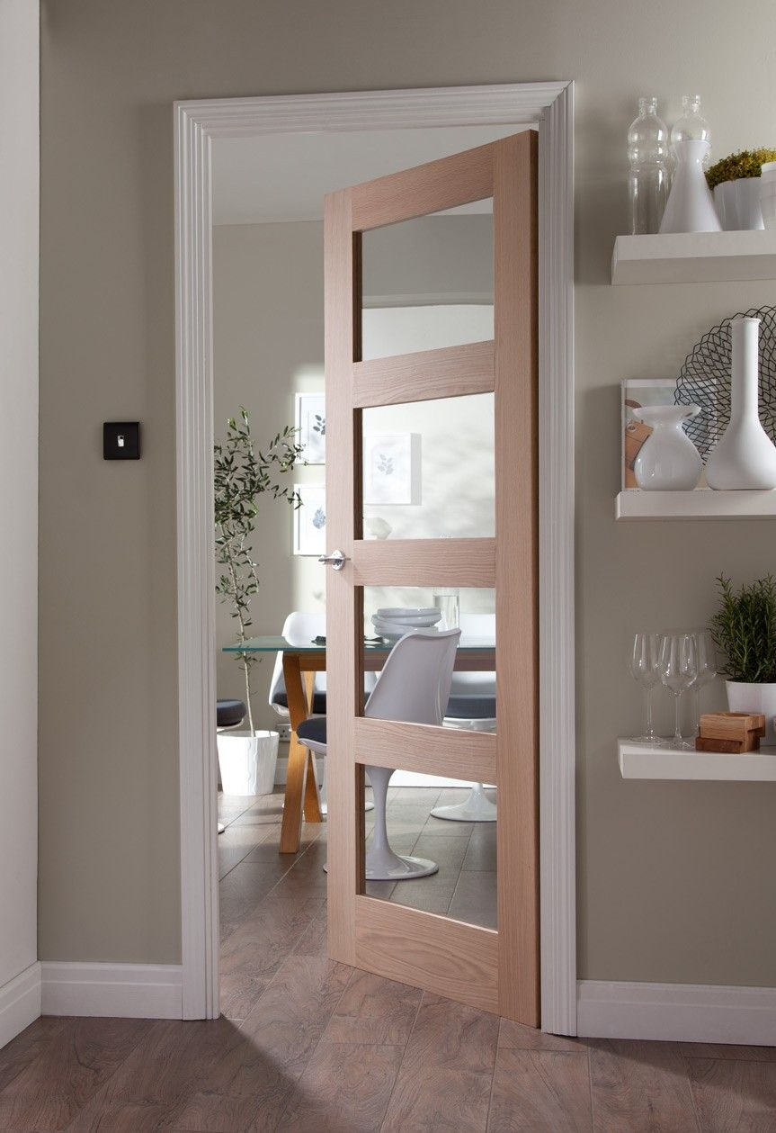 Shaker 4 Panel Clear Glazed Oak Door Doors Interior Internal Glass Doors French Doors Interior